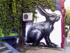 Saved the ROA rabbit, Hackney Road - 2 (Cybermyth13) Tags: street city uk england urban streetart rabbit london art animal wall painting giant fun graffiti mural funny drawing eastlondon roa hackneyroad londonist bigsmoke thepremises roarabbit