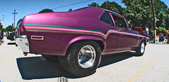 (cw3283) Tags: cars purple antique stripes tires fisheye vehicles fender fin antiquecars antiquecarshow highlightandshadow boothscorner