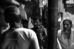 DSC_1134 (Tanja on flikr) Tags: 2005 bw india discussion rickshaw kolkata puller westbengal black38white