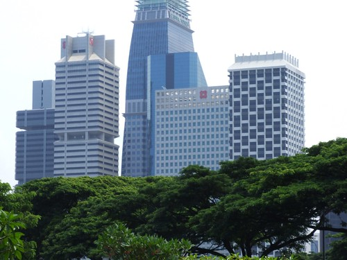 View of DBS buildings from Marina Bay MRT in Singapore
