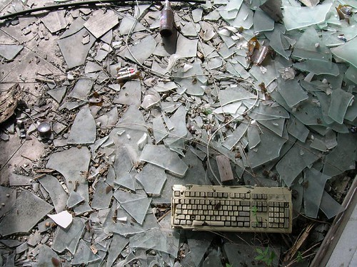 Keyboard in abandoned garage