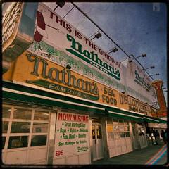 Nathan's ({jbremer}) Tags: street nyc newyorkcity texture brooklyn coneyisland hotdog unitedstates famous nowhiring dirt seafood nathans delicatessen surfavenue thisistheoriginal greatstartingsalary