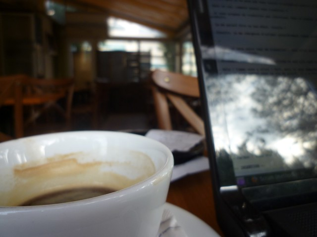 Working in a café