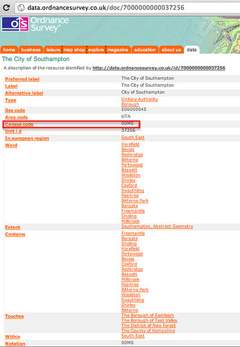 Local authority area code lookup in OS Linked Data