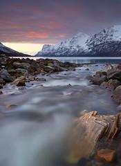Ersfjordbotn Sunset (antonyspencer) Tags: sunset snow mountains norway river circle landscape rocks arctic fjord tromso troms ersfjordbotn