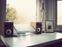 A Tidy Desk (I am Cheapskate) Tags: white studio print bedroom desk minimal anglepoise shelf speakers cheapskate macbookpro jezburrows