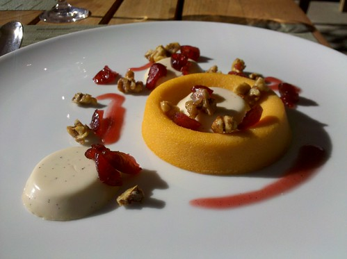 sweet potato custard with cranberries and toasted walnuts