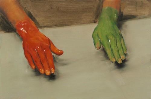 Michaël Borremans - Red hand, green hand
