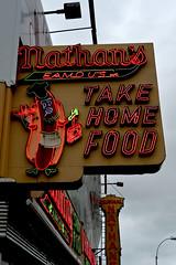 Nathans Famous Frankfurters (1hr photo) Tags: nyc newyorkcity newyork coffee sign brooklyn coneyisland hotdog neon burger fastfood fries sausages boardwalk neonsign coney wonderwheel nathans frankfurter astroland nathansfamous chillidog