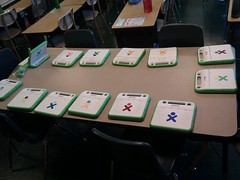 13 align=right XO laptops in my 3rd grade class. Christine (open) arrived today #olpc