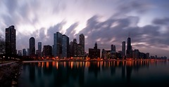 Dynamic City (Christopher.F Photography) Tags: longexposure sky urban chicago water night clouds buildings reflections lights nikon cityscape panoramic johnhancockbuilding streeterville d3000