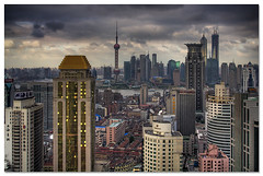 towers (staffh) Tags: china city urban tower skyline architecture clouds skyscraper skyscrapers shanghai towers aerial staff metropolis tall  shanghaiist density dense observationdeck skybar puxi urbanity