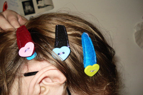 felt covered barrettes.