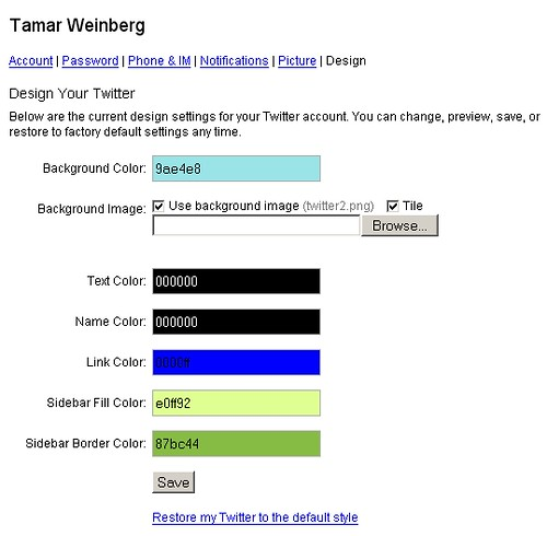 Twitter: Theme Chooser