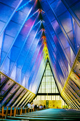 Air Force Academy Chapel (f0rbe5) Tags: unitedstatesairforce usairforce airforce usaf usafa usairforceacademy academy chapel coloradosprings colorado interior colourful blue yellow usa 1998 ae1 ceiling design film alloy metal