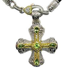 Judith Ripka Peridot Cross Pendant