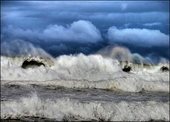 Angry Sea (Earlette) Tags: ocean blue winter sea mist storm wet water big nikon waves flood australia angry splash hdr oldbar d80 earlette