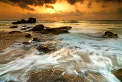 When the sea wakes up (cuellar) Tags: longexposure sunset sea espaa seascape beach water landscape geotagged mar spain agua rocks europa europe nightshot playa paisaje cuellar amanecer almeria piedras mojacar abigfave superaplus aplusphoto geo:lat=37125064 geo:lon=1831477 cuellar2007top20