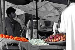 Vegetable cart (Naeem Rashid) Tags: street pakistan vegetables d50 nikon tomatoes vegetable onions garlic cart punjab lahore selectivecoloring