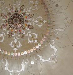 Pearl Mandala - Detail (Magical Mystery Tuca) Tags: crystals handmade originalpainting ivory mandala iridescent glasspearls handembroidery vintagebeads octagoncrystals