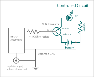 Using an NPN transistor with a microcontroller