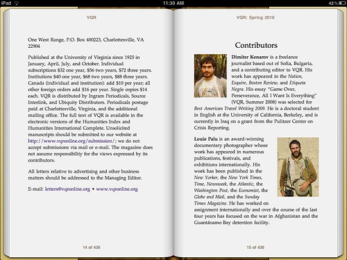 VQR Digital Edition on iPad