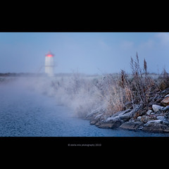 frost and fog (stella-mia) Tags: autumn lighthouse lake cold fall water norway fog october frost foggy explore frontpage hamar mjsa 70200mm coldair hedmark explored canon5dmkii lakemjsa annakrmcke tjuvholmenhamar