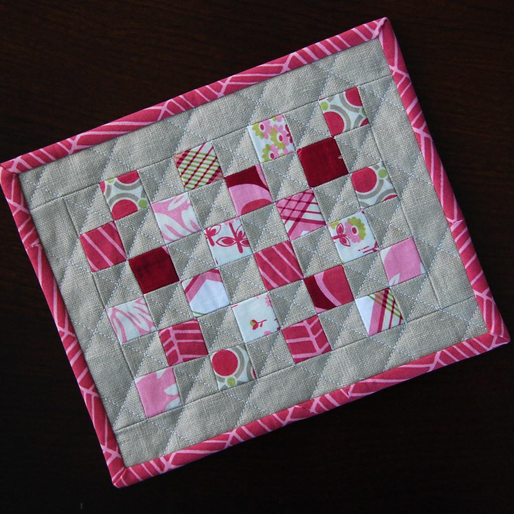 Tiny Squares Mug Rug {Front}