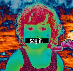 Say it! (MickeyMousePhobia) Tags: old pink vintage photography words 60s colorful talk style popart andywarhol 1960s speak censure sayit