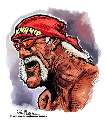 digital caricature sketch of Hulk Hogan - final