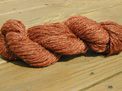Handspun beaded copper yarn