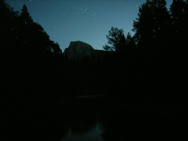 Half Dome in the Moonlight Reflecting on Merced River