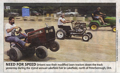 Racing Lawn Tractors (Research - Metro Newspaper Clipping) - by Steven Laurie