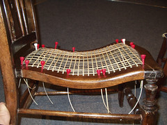 Caning a curved seat - stages 1 & 2