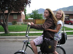 riding my sister to school