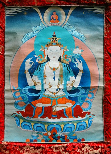 Chenrezig thangka, Avalokiteshvara, Bodhisattva of Compassion, crowned by Amitabha, holding a lotus and mala, wearing an antelope hide, sun, moon, stars, Tibetan Buddhism, Seattle, Washington, USA by Wonderlane