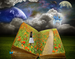 allusion (supirvillain) Tags: road flowers sky grass fairytale clouds wonder reading book space bricks books dreams planets imagination galaxies brickroad nasaremix supirvillain