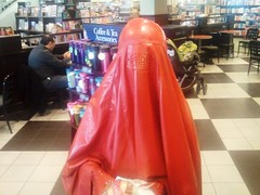 Getting a Drink after Book Shopping (latexladyll) Tags: public fetish shopping rubber latex burqa