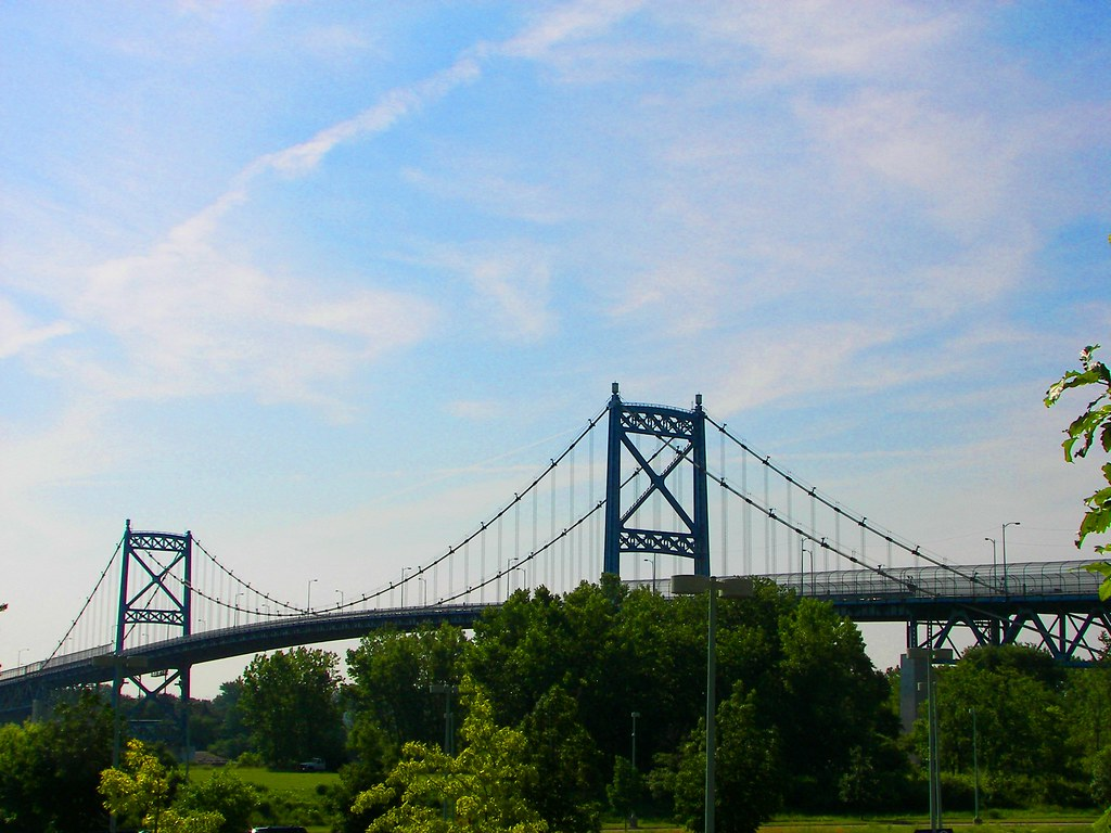 Anthony Wayne Suspension Bridge, also known as the High Level Bridge in Toledo, OH over the Maumee River