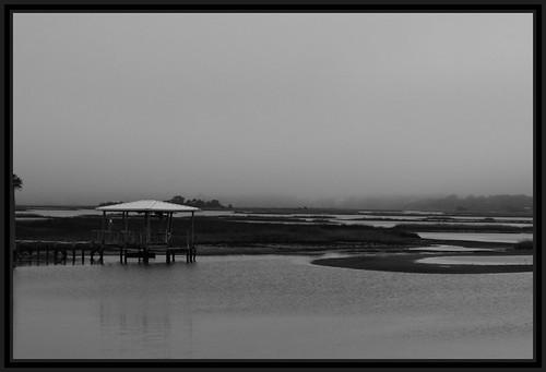 Misty Cedar Key Dawn in Black and White