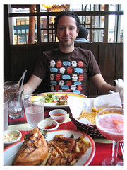 pigging out at the restaurant Red