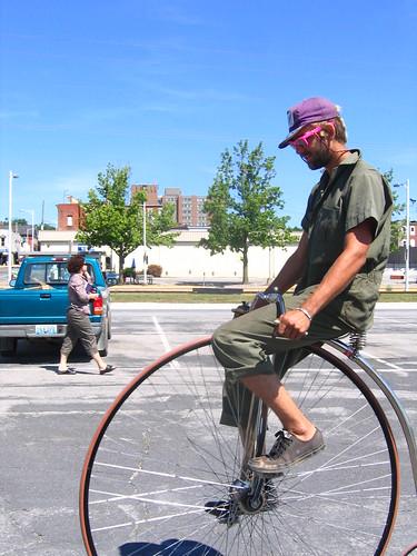 Nick on the pennyfarthing bike