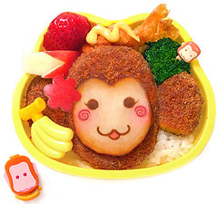 Monkey bento 9-26-07 (pkoceres) Tags: apple cup japan cheese lunch monkey bottle strawberry shrimp broccoli curry banana pear mayo bento spicy soy tempura fried bartlett  croquette        icookedthis  ebifry  whitecheddar charaben