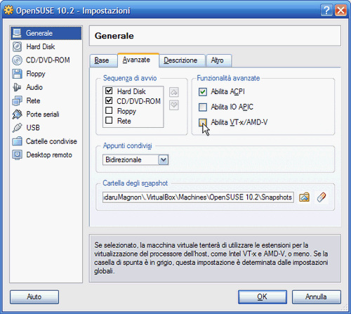 Fig. 3 - VirtualBox 1.5 - Attivazione supporto hardware virtualizzazione