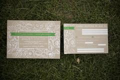 Rustic Floral Wedding Invitation Suite (miss jamie elizabeth) Tags: white green floral screenprint postcard rustic ribbon weddinginvitations thankyoucard chipboard kraftpaper weddinginvitationsuite