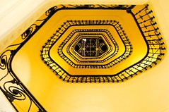 Black & Yellow (5ERG10) Tags: light shadow mer holiday black france sergio june yellow architecture stairs spiral hotel seaside nikon europa cotedazur riviera carlton mare cannes weekend steps stairwell stairway lookingup giallo staircase handrail provence railing nikkor 18200 nero architettura squared intercontinental sud spirale tromba 2010 provenza albergo croisette d300 ringhiera helical amiti 5erg10