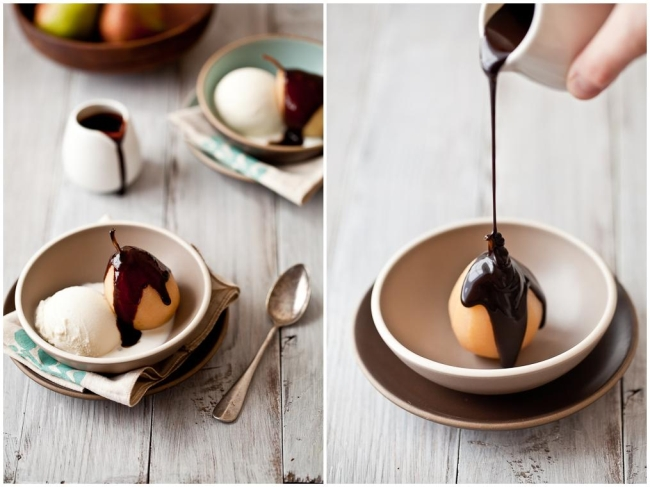 poached pear with chocolate sauce recipe dishmaps spiced poached pears ...