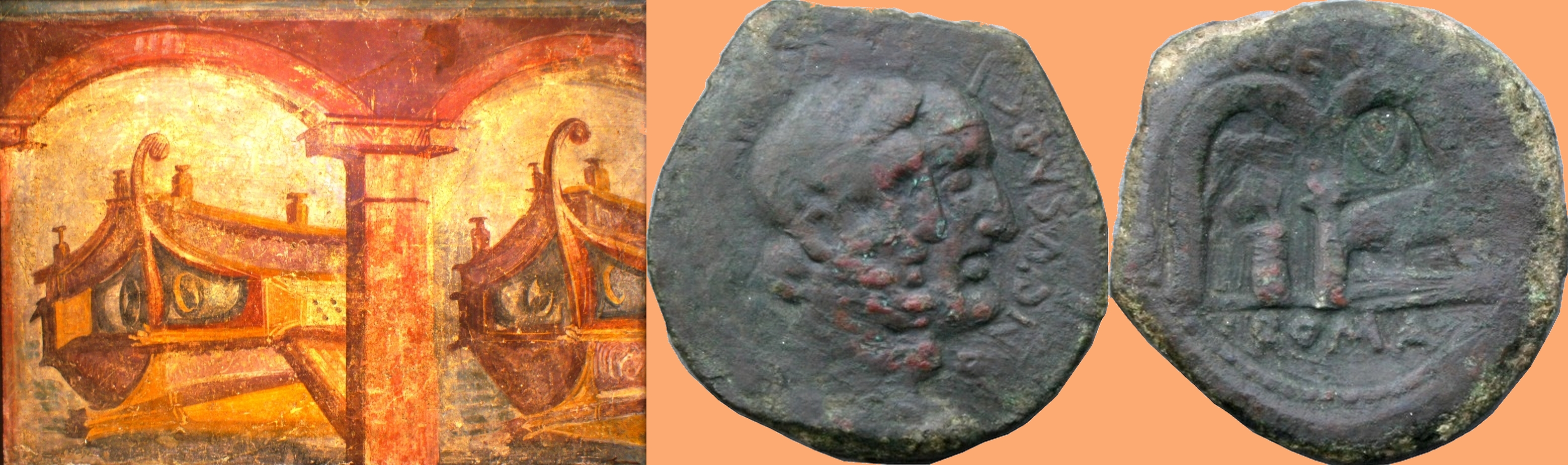 346/3 coin of Censorinus 88BC with statue, Two Arches and a Ship, beside a Pompeian painting of Two Arches and Two Ships in harbour