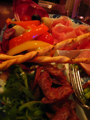 Assorted meat platter with pickled vegetables