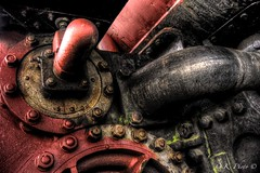 Industrial (Ollie Kershaw ) Tags: old autumn red black colour detail texture abandoned metal neglect train canon dark eos moss rust industrial dof view decay engine bolt algae nut tamron hdr polariser spline tonemapped 400d borderfx